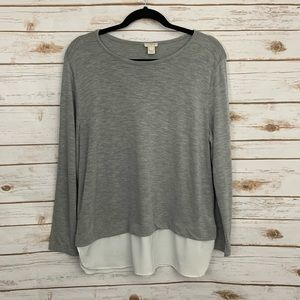 J Crew Gray Sweater with Silky Hem